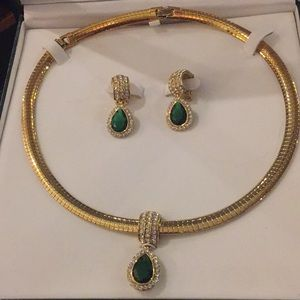 New in box green and crystal necklace & earrings